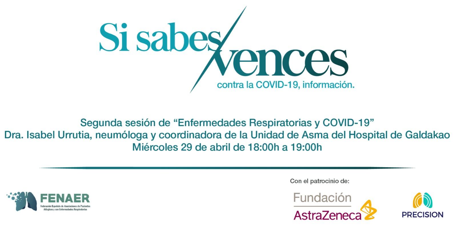 Nueva conferencia online de FENAER sobre enfermedades respiratorias y COVID-19 con la Dra. Isabel Urrutia