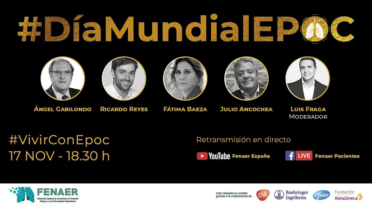 Personajes conocidos preguntan a pacientes en un gran evento virtual por el Día Mundial de la EPOC