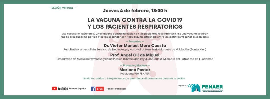Sesión online sobre la vacuna de la Covid-19 y los enfermos respiratorios