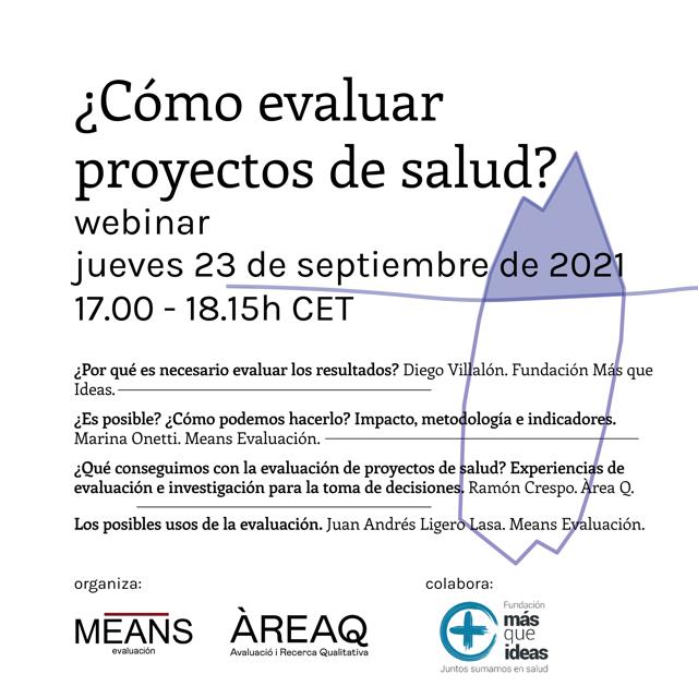 Sesión en línea sobre evaluación de proyectos de salud con la colaboración de Más Que Ideas